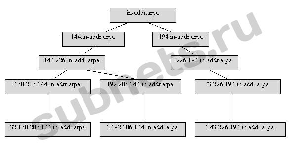 Рис.1. Пример структуры части домена in-addr.arpa